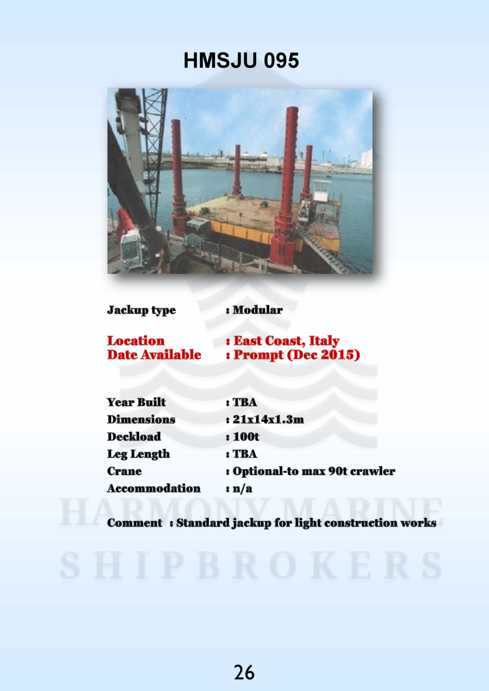 HMSJU 095  Jackup type    Modular  Location Date Available    East Coast, Italy   Prompt  Dec 2015   Year Built Dimensions...