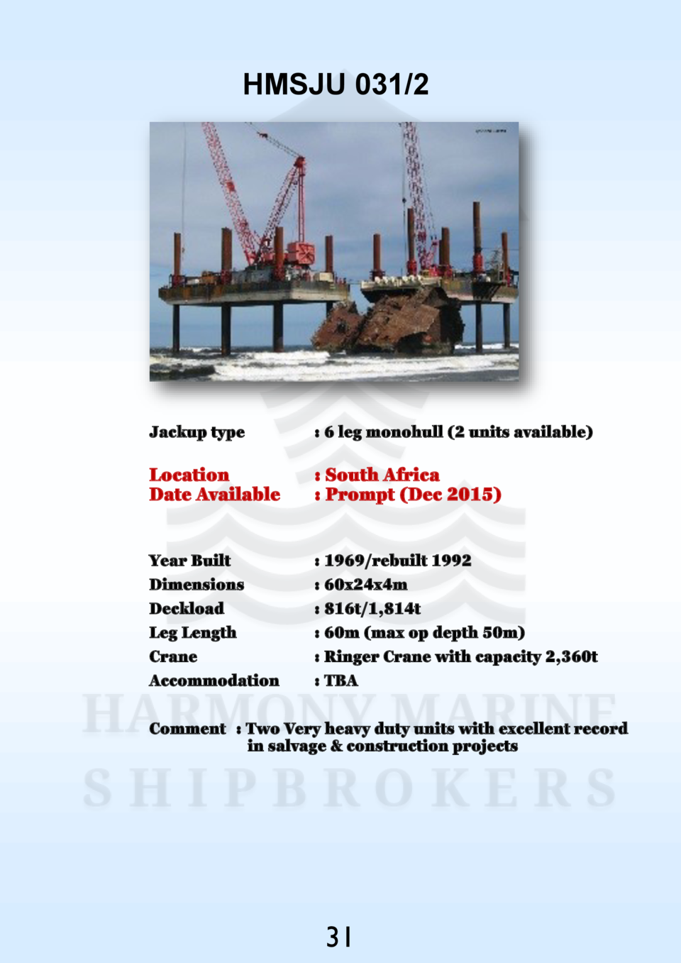 HMSJU 031 2  Jackup type    6 leg monohull  2 units available   Location Date Available    South Africa   Prompt  Dec 2015...