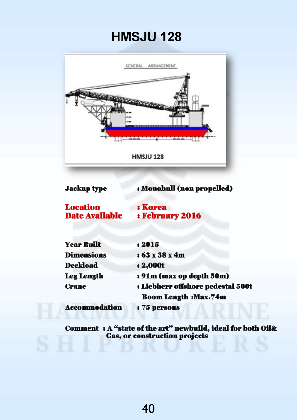 HMSJU 128  Jackup type    Monohull  non propelled   Location Date Available    Korea   February 2016  Year Built Dimension...